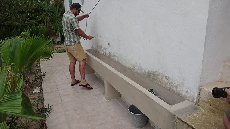New Rod Bath saves water and keeps equipment salt free Acocote Eco Inn Xcalak Mexico